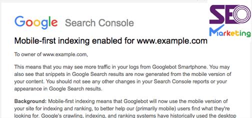 پیام mobile first index در وبمستر تولز چیست